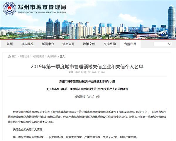 郑州公布城管领域失信黑名单 服装行业鸭鸭股份公司上榜