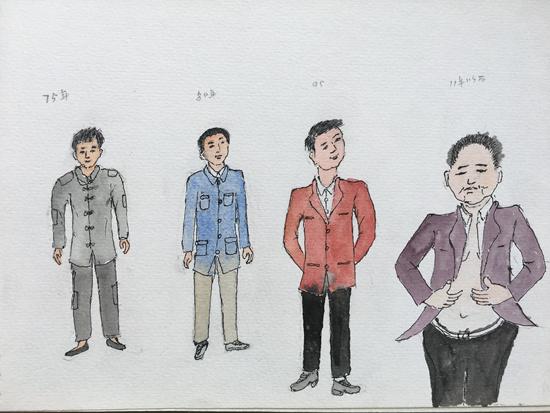 从上世纪70年代到现在村里男性服装的变化。焦金安/绘