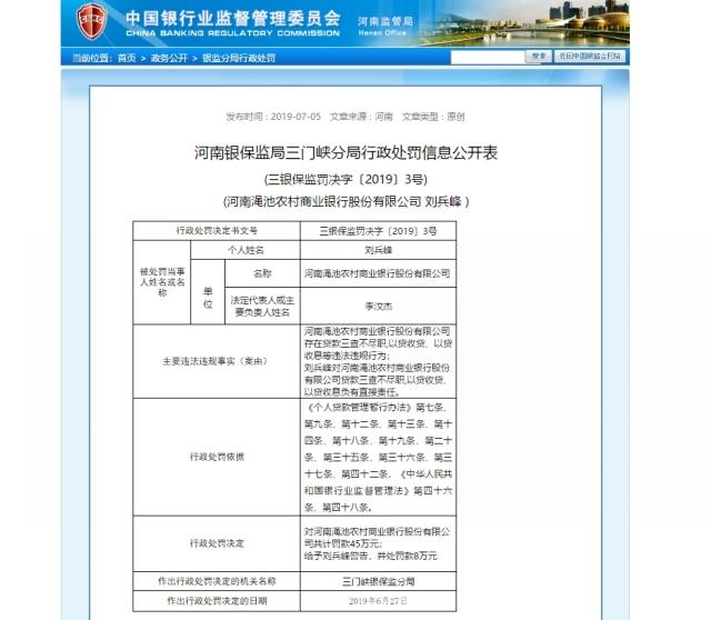 河南渑池农商行违规遭罚45万元 近半企业股东被拉黑