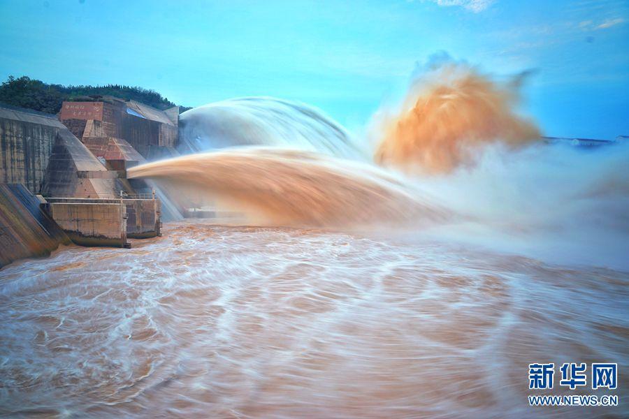 """7月3日,黄河小浪底水库,下泄的清澈水流与裹挟泥沙的混浊水流分别从明流洞、排沙洞奔腾而出,好似白黄两条""""巨龙""""从天而降。"""