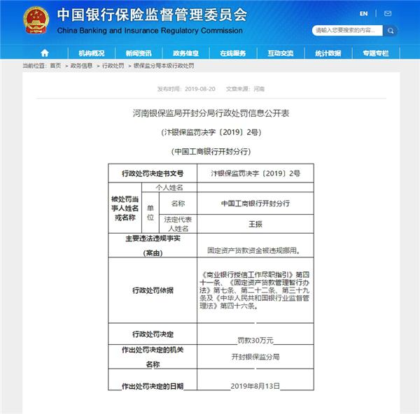 资金违规挪用 中国工商银行开封分行和中国农业发展银行开封市分行同时被罚