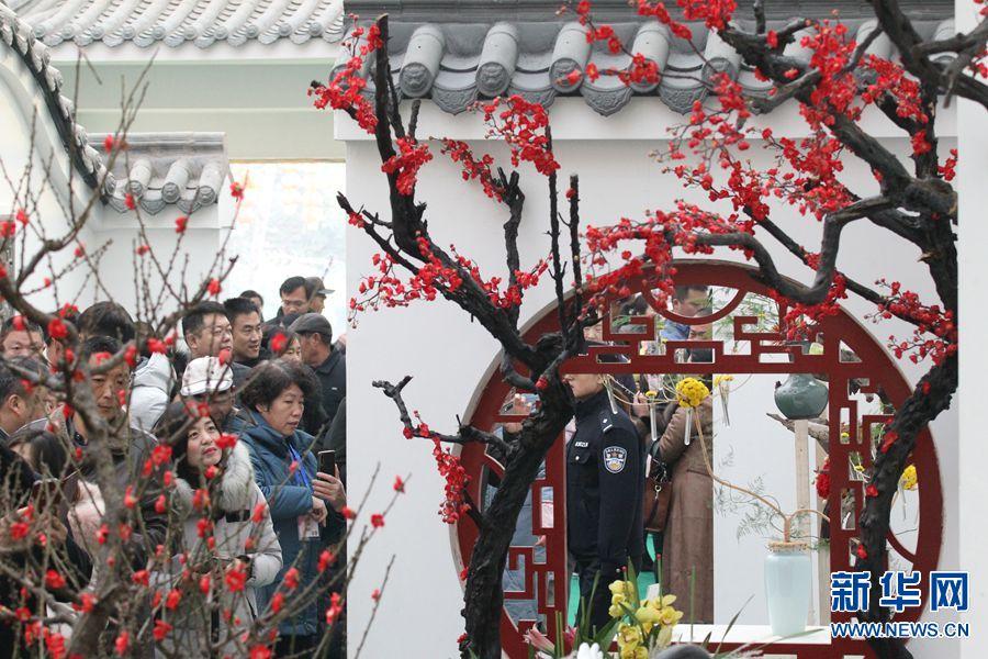 1月4日,游客在第九届中国·鄢陵蜡梅梅花文化节参观蜡梅插花艺术展。(牛书培 摄)