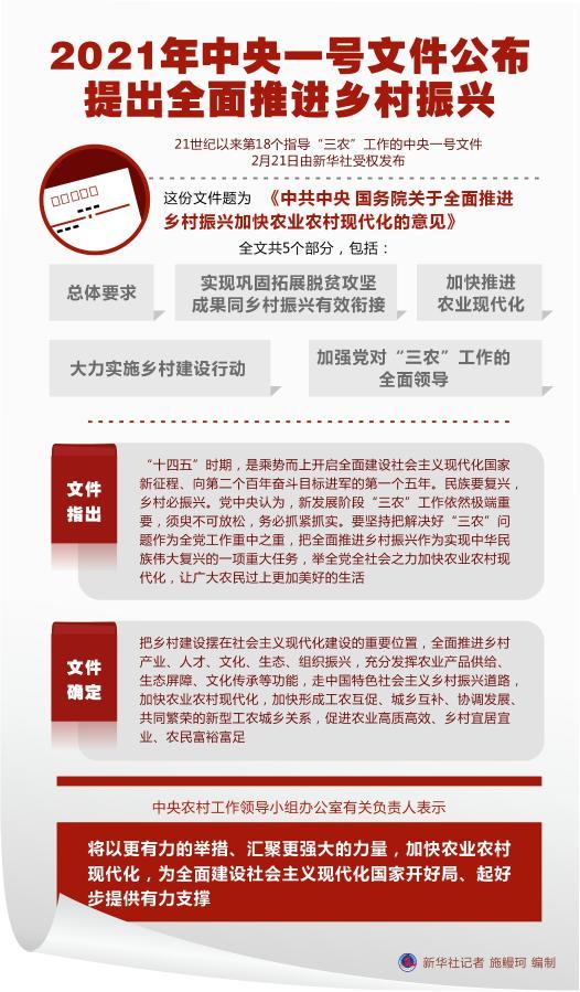 2021年中央一号文件公布 提出全面推进乡村振兴
